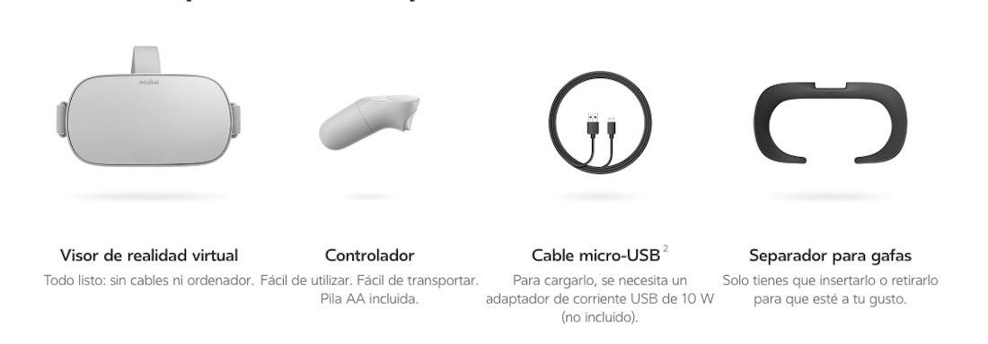 Oculus Go contenido paquete